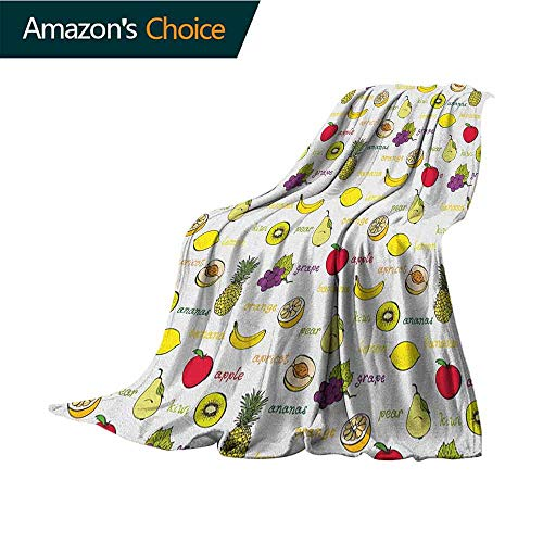 Fruits Queen Size Blanket,Kiwi Banana Plums Lemon Orange Pear Grape Apricot Kitchen Food Print 300GSM,Super Soft and Warm,Durable Blanket,30