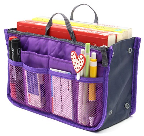 Women Travel Insert Handbag Organizer Purse Organizer Tidy Bag Purple