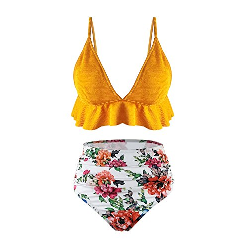 - SS Queen Womens High Waisted Swimsuit Ruffle Print Bikini Swimwear Two Pieces Bathing Suit Yellow