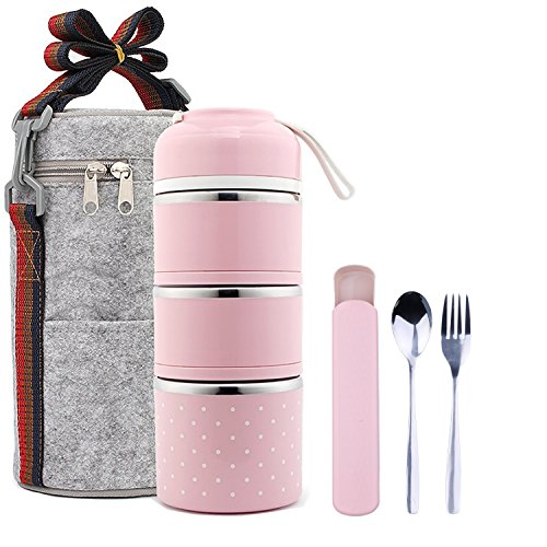 Lunch Container for Kids Students and Adult - Vitalt Stainless Steel Insulated Lunch Box Leakproof Office Snack Food Storage Container with Lunch Bag Carrier,Spoon and Fork Cutlery Set (pink (3-Tier)) by VITALT