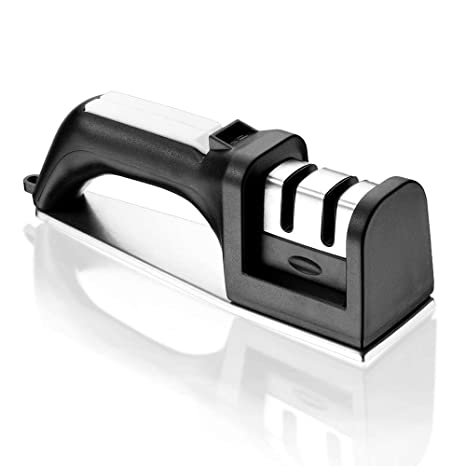 Nicekitchen Kitchen for for Straight and Serrated knives 2 stage Manual chef Knife Sharpener, with with Diomand Abrasives, Black