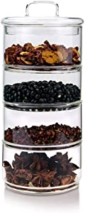 WPL Glass jar Glass Food Storage Jars,Kitchen Glass Canisters Set for Coffee, Flour, Sugar, Candy, Cookie, Spice and More Food Jars