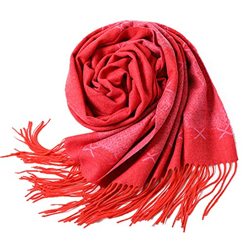 Jacquard Cashmere - YONGYONG Red Jacquard Cashmere Scarf European and American Style Tassel Plain Pattern Men's and Women's Solid Color Warm Fashion Yarn Shawl Soft and Comfortable 65 200cm