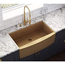 Drop in Sink Copper Tone 36-inch Apron-Front Farmhouse Kitchen Sink - Matte Bronze Stainless Steel Single Bowl pppp1022