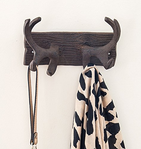 Vintage Cast Iron Deer Antlers Wall Hooks by Comfify | Antique Finish Metal Clothes Hanger Rack w/ Hooks | Includes Screws and Anchors | in Rust Brown | (Antlers Hook CA-1507-24)