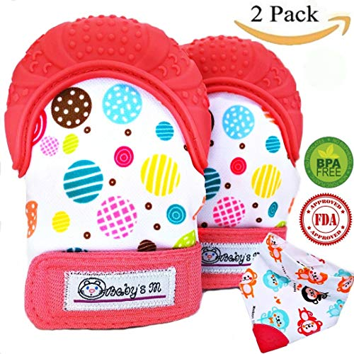 Baby Teething Mittens & Bandana Drool Bib with Teething Tip– Self Soothing Pain Relief & Scratching Protection with Food Grade Soft Silicone – Colorful & Unisex Teething Gloves (red)