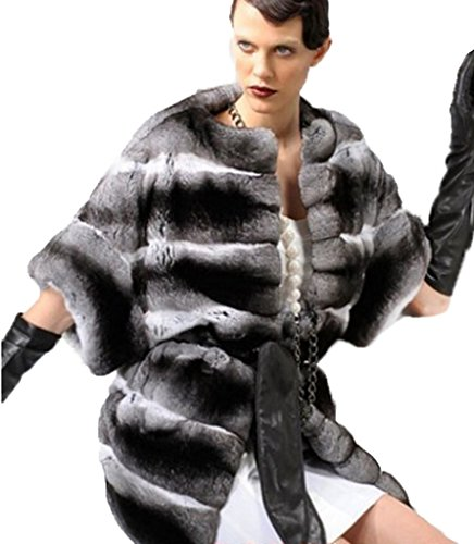 (Moda Furs Women's New Chinchilla Fur Coat Jacket)