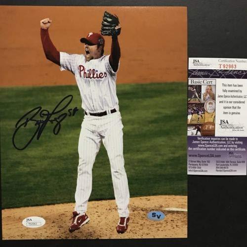 Autographed/Signed Brad Lidge 2008 World Series Philadelphia Phillies 8x10 Baseball Photo JSA COA