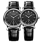 SINOBI His Hers Couple 2pcs Chronograph Leather Band Wrist Watches for Couples, Set for Valentines Gift