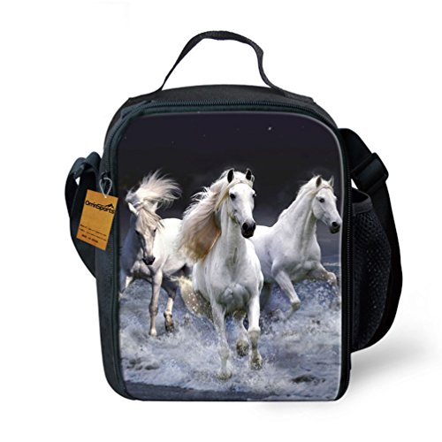 OrrinSports 3D Print Insulated Lunch Bag Totes Keep Hot And Cold For Kids White Horse