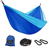 Active Roots Double Camping Hammock with Tree Straps - Portable Hammock, Parachute Nylon Lightweight Hammock for Backpacking, Travel, Indoor, Outdoor (Green/Grey)