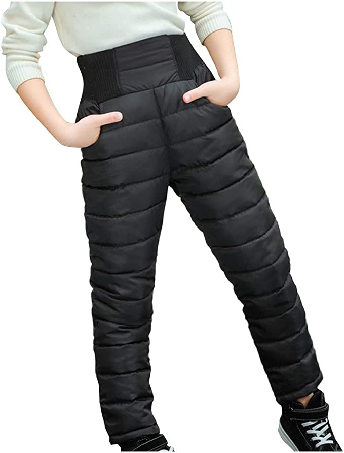 Kids Boy Girl Winter Warm Elastic Waist Pants Outdoor Thicken Snow Trousers New