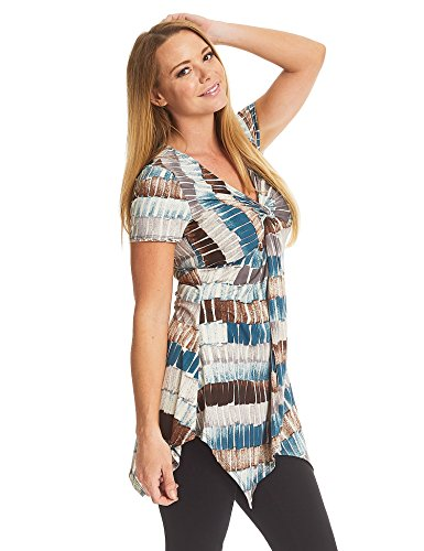 Lock and Love LL WT1360 Print Short Sleeve Knot Front Baby Doll Tunic XXL Teal_Brown