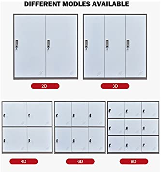 School and Home Storage Locker Organizer,Kids Locker for Cloth and Toy Organizer,Living Room Boy and Girl Metal Storage Locker Cabinet White MECOLOR-Steel Office Locker Cabinet with Keys