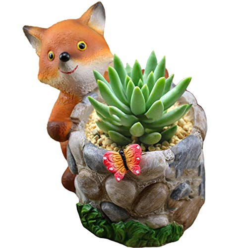 - YOURNELO Zakka Cartoon Animal Plant Flower Pot Succulent Planters Vase (Fox)