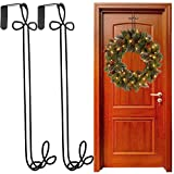 Panacea 2 Pack Over The Door Holiday Wreath Hangers Black Metal Décor For Outdoor Decorations