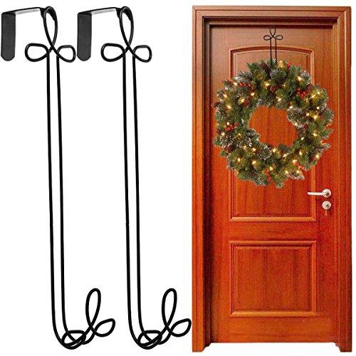 - Panacea 2 Pack Over The Door Holiday Wreath Hangers Black Metal Décor For Outdoor Decorations
