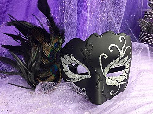 Peacock Feathered Black Venetian Mask Halloween Gift Keepsake ()