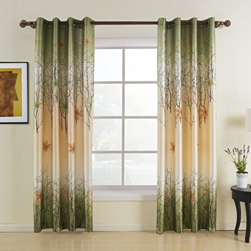 (Leyden Grommet Top Print Country Green Maple Leaf Lined Curtain Drapes Multi Custom (One Panel) 42Wx63 L)