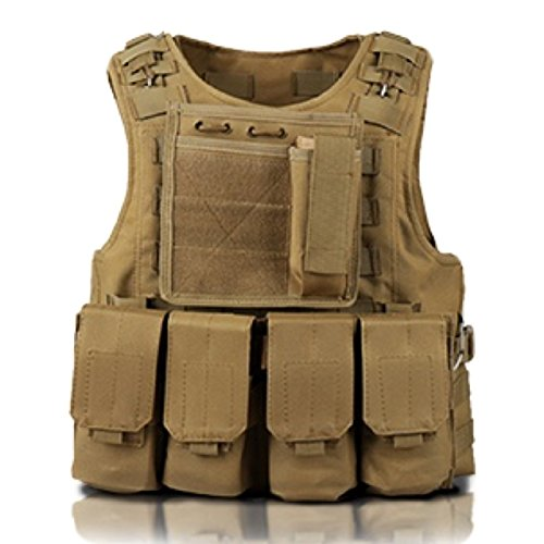 Tactical Vest Survival Game MOLLE system Multicam camouflage (TAN) (Airsoft Body Armor)