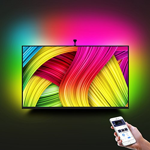 LED TV Backlight Kit with Camera,7.22ft Music Led Strip Lights,RGB Smart Light Strip Ambient Bias Lighting,3-Modes with App (Video,Music,Custom),Compatible for Any TV Signal (Not Only HDMI), (46
