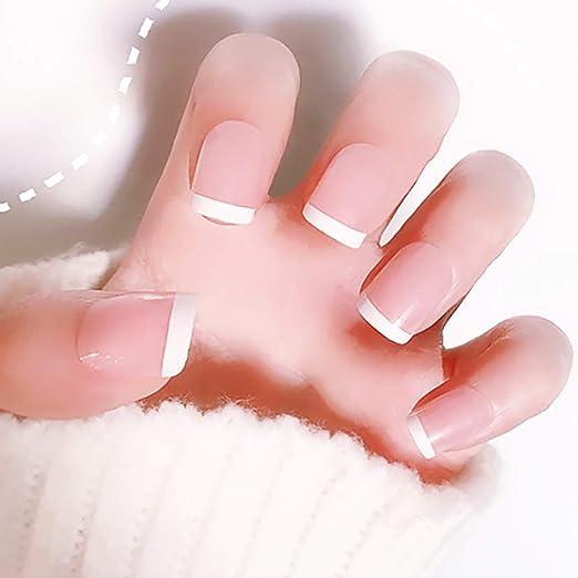 Barode uñas francesas de cobertura completa prensa corta en uñas ...