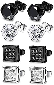 Subiceto 4 Pairs Stainless Steel Stud Earrings for Men Women Earrings CZ Inlaid,6-10mm