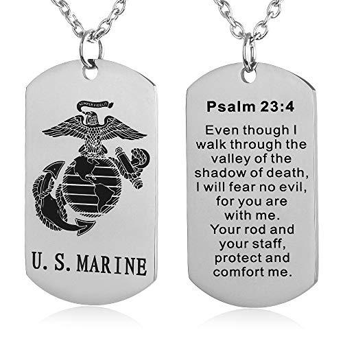 FAYERXL US Marine Corps Dog Tag Necklace Birthday Gift Ideas to Husband Son Joshua 1:9 Prayer Pendant (Psalm 23:4)