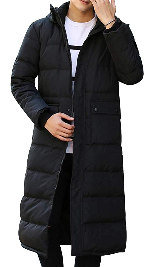 YYG Mens Fall /& Winter Hoodie Fleece Warm Mid Length Quilted Jacket Coat Outerwear
