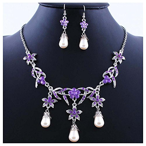 Luck Wang Woman's Unique Fashion Style Pearl Pendant Necklace Earrings (Gel Wrap Beveled)