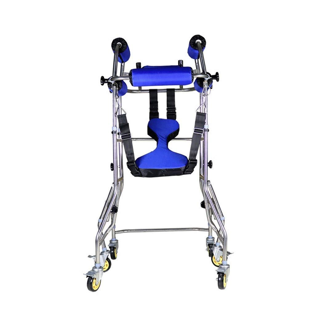 FHRX Child Walker Rollator 6 Wheeled Height Adjustable Stand Rehabilitation Training Adult Walker Stand Stainless Steel Six-Wheel Rollover Back Stand by FHRX