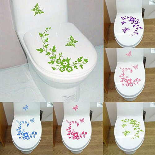 Bathroom Decor - Butterfly Flower Toilet Seat Cover Sticker Wall Refrigerator Art Waterproof Removable Paper - 1PCs by Unknown