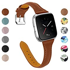 Fitbit versa Leather replacement Band with Stainless Steel Buckle for Fitbit Versa Smart Fitness Watch Casual & Chic Style: this fitbit versa leather accessory creates an elevated look at any occasions. It makes the watch so attractive in...