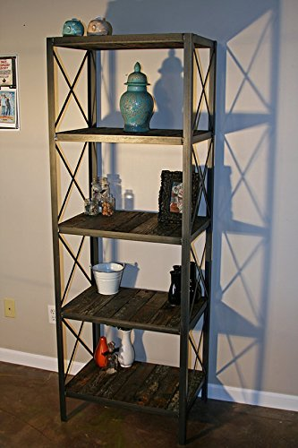 Industrial bookcase. Modern shelving unit. Reclaimed wood.