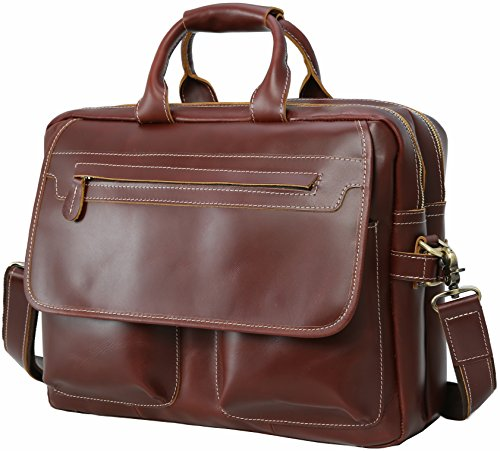 Iswee Leather Vintage Style Messenger Bag Portfolio Briefcase 14'' or 16'' or 17'' Laptop Case for Men Attache Case (Large Size-Fit 16'' Laptop, Red Waxed) by Iswee