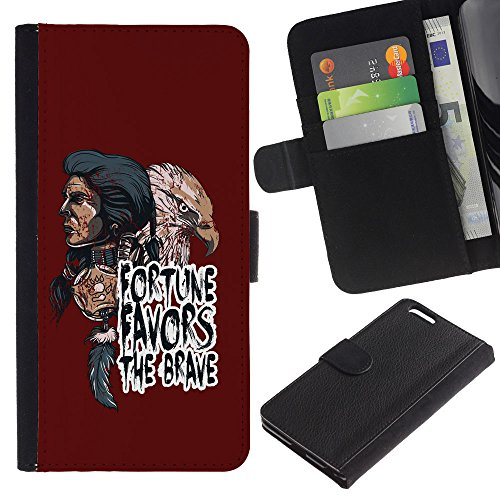 EuroCase - Apple Iphone 6 PLUS 5.5 - Fortune Favors The Brave - Indian Native American & Eagle - Cuir PU Coverture Shell Armure Coque Coq Cas Etui Housse Case Cover