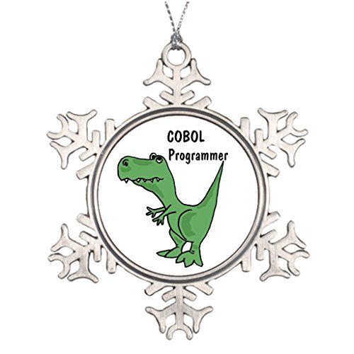 Xixitly Ideas For Decorating Christmas Trees AZ- COBOL Programmer Dinosaur Office Chrismas Snowflake Ornaments (Christmas Decorating Ideas Office)
