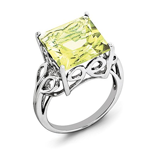 (925 Sterling Silver Lemon Quartz Solitaire Ring for Men Size 8 (7.85ct, Green))
