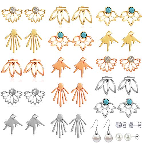 18 Pairs Multiple Dainty Lotus Flower Ear Jacket Earrings-Minimalism CZ Bar Turquoise Studs-White Rose Gold Plated Statement Chic Fashion Stud Earring Set New Year Christmas Gift for Teens Girl - Back Earrings Dangle