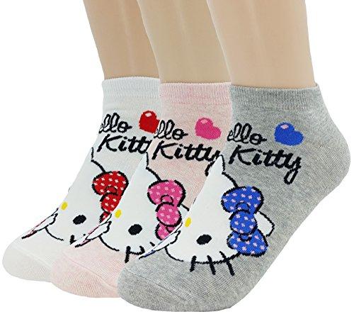 JJMax Women's Hello Kitty Cute Cotton Blend Ankle Socks Set (Kitty Surprise!)
