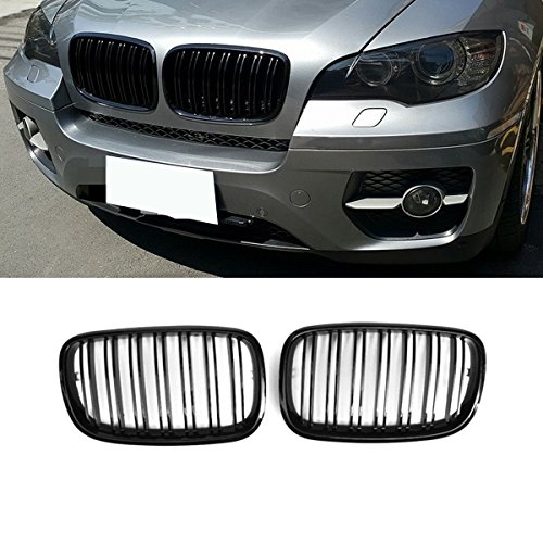 (E70 Grille, ABS Front Replacement Kidney Grill for X5 Series E70 X6 Series E71 Gloss Black)