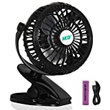 Mini Battery Operated Clip Fan,Sall Portable Fan Powered by Rechargeable Battery or USB Desk Personal Fan for Baby Stroller Car Gym Workout Camping,Green (black)