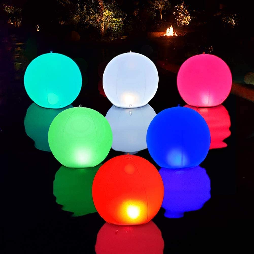 "Solar LED Lights Inflatable, 14"" Floating Pool Lights Waterproof Color Changing Hangable Ball Light for Pond Pool Beach Garden Backyard, Patio Decorative Night Light, Event Party as Mood Lights-1PCS"