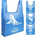 Ocean Theme Reusable Grocery Bags Made of Recycled Fiber Set of 4 -Attracting More People to Join The Action of Environmental Protection