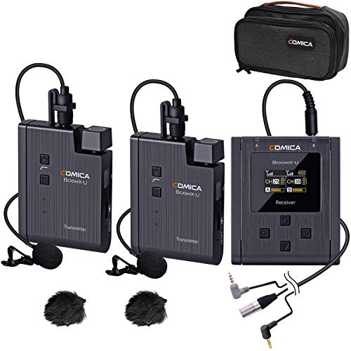 Wireless Lavalier Microphone System, COMICA BoomX-U2 48-Channels UHF Wireless Lapel Clip-on Microphone for DSLR Cameras/Camcorders/Smartphones, Video Recording/Interview (2 Transmitters & 1Receiver)