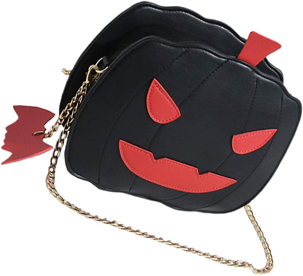 Crossbody Bag Halloween Pumpkin Messenger Bag Devil Shoulder Chain Bag for Women Girls Kids (Black)