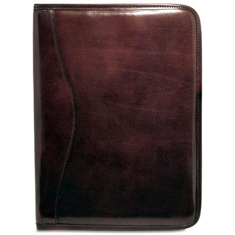 Jack Georges Unisex [Personalized Initials Embossing] Sienna Letter Size Writing Pad Cover in Cherry by Jack Georges