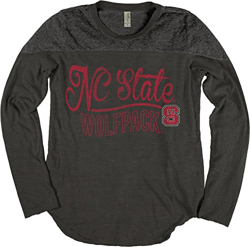 Nc State Wolfpack Classic Shirt (NCAA North Carolina State Wolfpack Adult Women NCAA Women's Dyed Long Sleeve Yoke Tee,Large,Black)