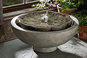 Campania Cast Stone Flores Garden Terrace Outdoor Fountain Verde - FT-170-VE