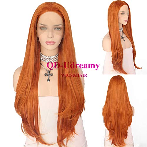 QD-Udreamy Premium Fiber Orange Lace Front Wigs Natural Hairline Heat Resistant Hair High Density Synthetic Wigs for Women ... ()